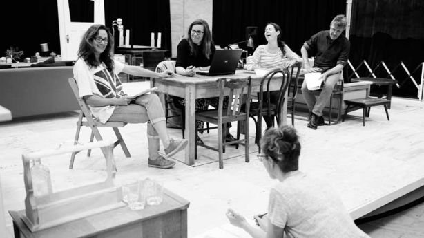 Sarah Goodes with the cast in rehearsals