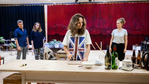 Catherine McClements with Peter Houghton, Katherine Tonkin and Sarah Goodes in rehearsals