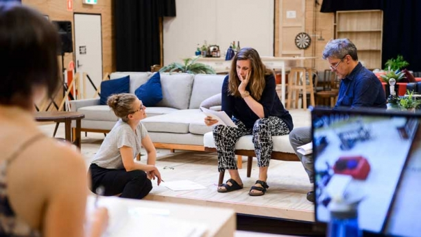 Sarah Goodes with Peter Houghton and Katherine Tonkin in rehearsals
