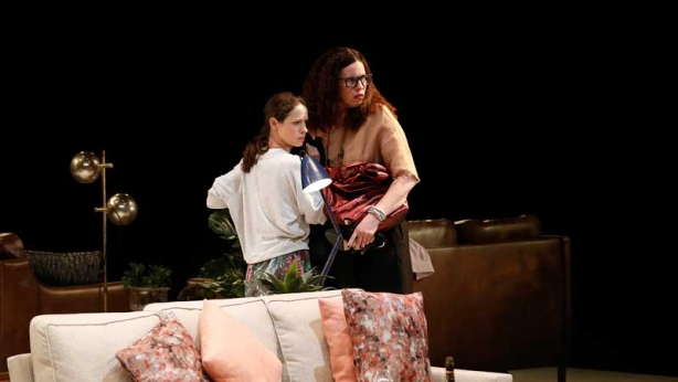 Kate Atkinson and Katherine Tonkin on stage in Three Little Words