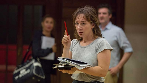 Emily Goddard in rehearsals for Noises Off