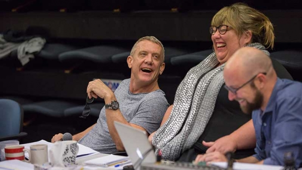 Simon Burke in rehearsals for Noises Off