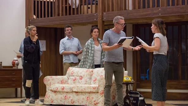 The Noises Off cast in rehearsals