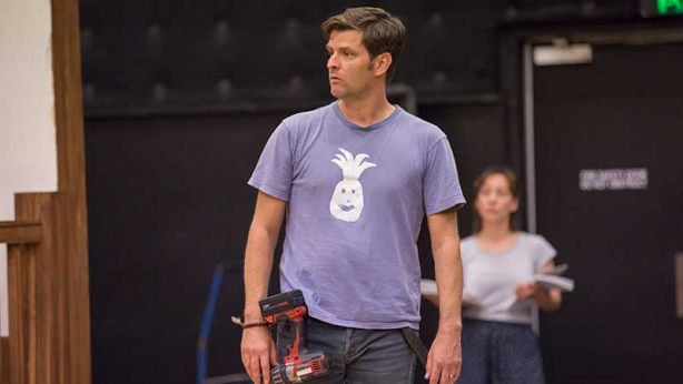 James Saunders in rehearsals for Noises Off