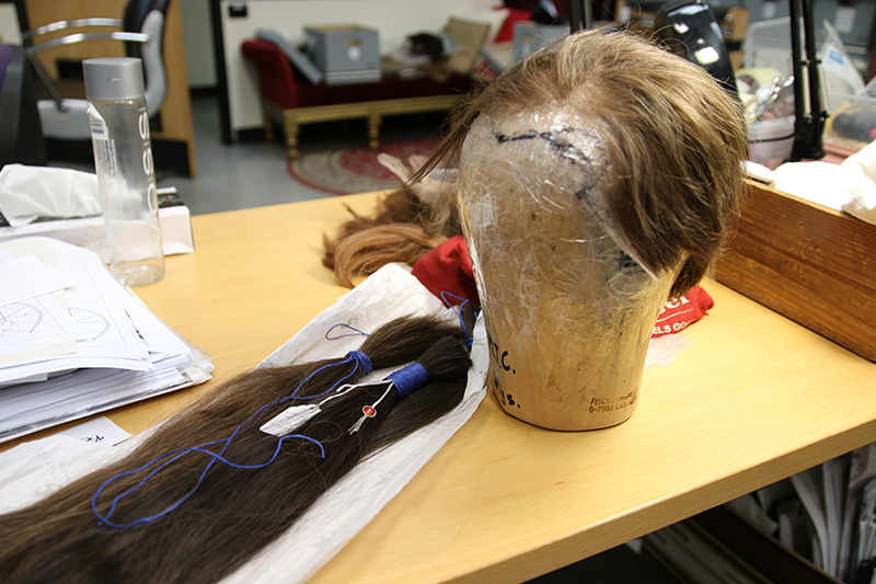 A recycled wig worn by Dylan Watson as Seyton in Simon Phillips' production of Macbeth.