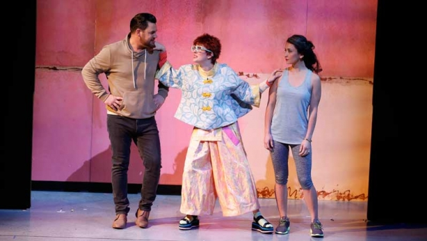 Ben Mingay, Gillian Cosgriff and Christina O'Neill on stage in Vivid White
