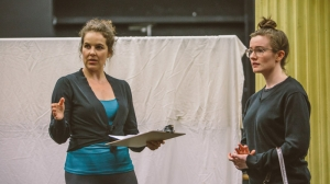Kate Cole and Sarah Morrison in rehearsals