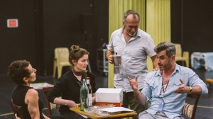 Christen O'Leary, Sarah Morrison, Greg Stone and Bobby Fox in rehearsals