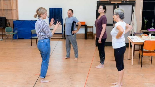 Sarah Goods, William Zappa, Pamela Rabe and Sarah Peirse in rehearsal for The Children