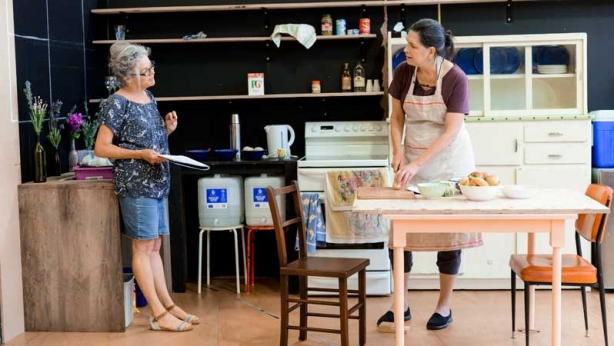Sarah Peirse and Pamela Rabe in rehearsal for The Children