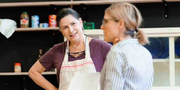 Pamela Rabe and Sarah Goodes in rehearsal for The Children