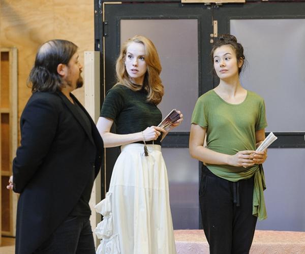 Jem Lai, Greta Sherriff and Brent Hill in rehearsals