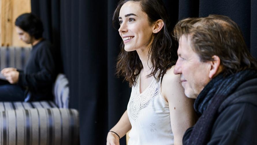 Geraldine Hakewill in rehearsals of Macbeth