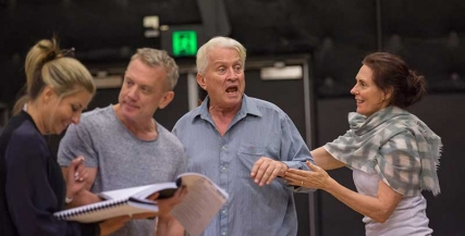 Nicki Wendt, Simon Burke, Steven Tandy and Louise Siversen in rehearsals for Noises Off