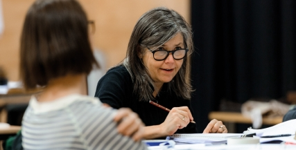 Marion Potts in rehearsal for Di and Viv and Rose