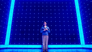 Joshua Jenkins (Christopher) in The Curious Incident, photo by BrinkhoffM+Âgenberg