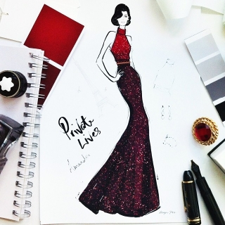 The final illustration of Amanda's Act 1 gown, by Megan Hess
