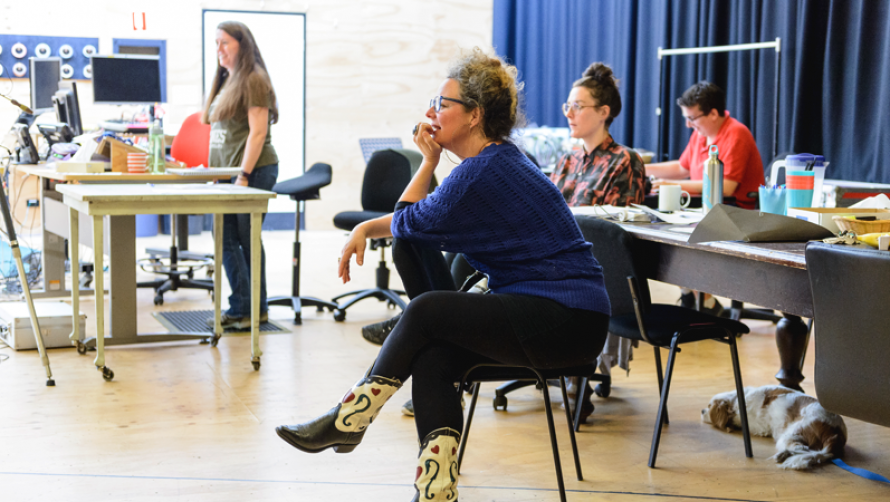 Clare Watson in rehearsal for Lungs