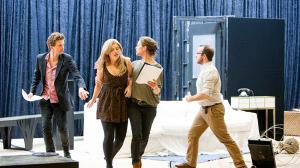 Leon Ford, Lucy Durack, Nadine Garner and John Leary in rehearsal