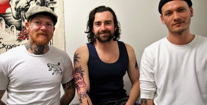 Aaron Smith, Johnny Carr and Josh X at Faith Hope and Charity tattoo parlor