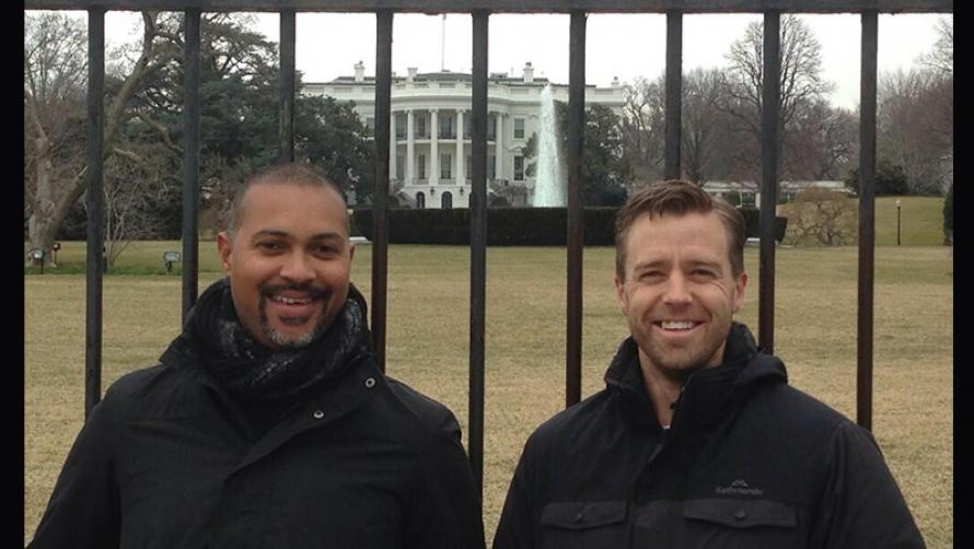 Bert LaBonté and Simon Gleeson outside the White House, Washington DC