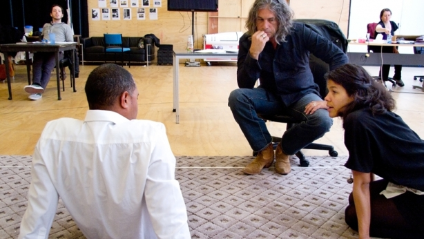Alkinos Tsilimidos with Bert LaBonte and Zahra Newman in rehearsal for 'The Mountaintop' (MTC 2013)