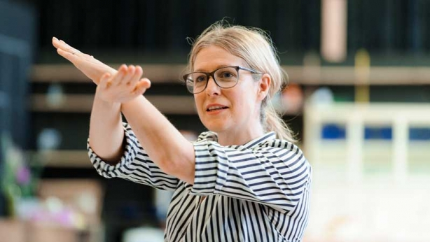 Sarah Goodes in rehearsal for The Children
