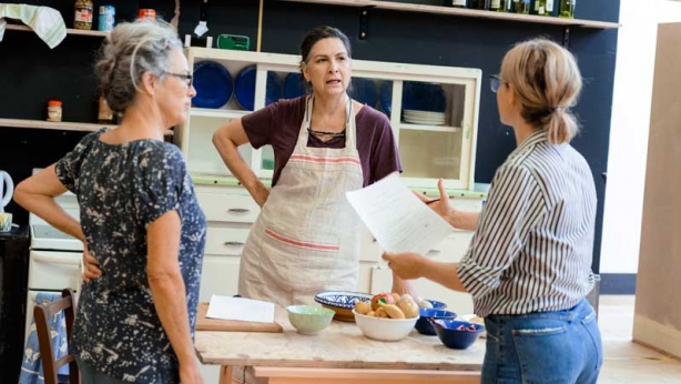 Sarah Peirse, Pamela Rabe and Sarah Goodes in rehearsal for The Children